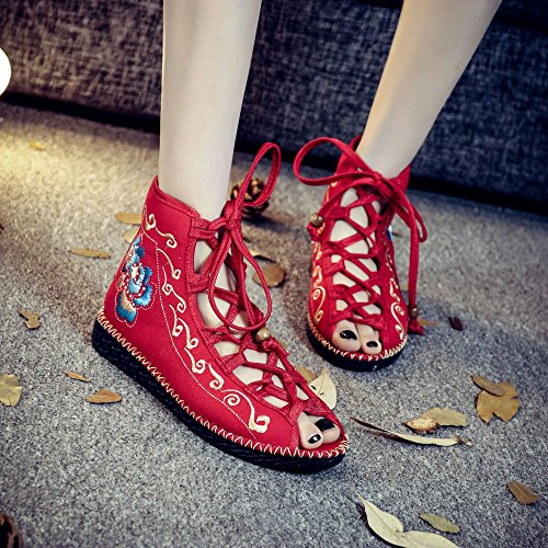 KIKIGOAL a Mano Cargadores de Las Rojo las Los Zapatos étnicas del del Zapatos Los Verano Costumbres Cosen Bordado Sandalias Mujeres los Las 4BW4qIrn