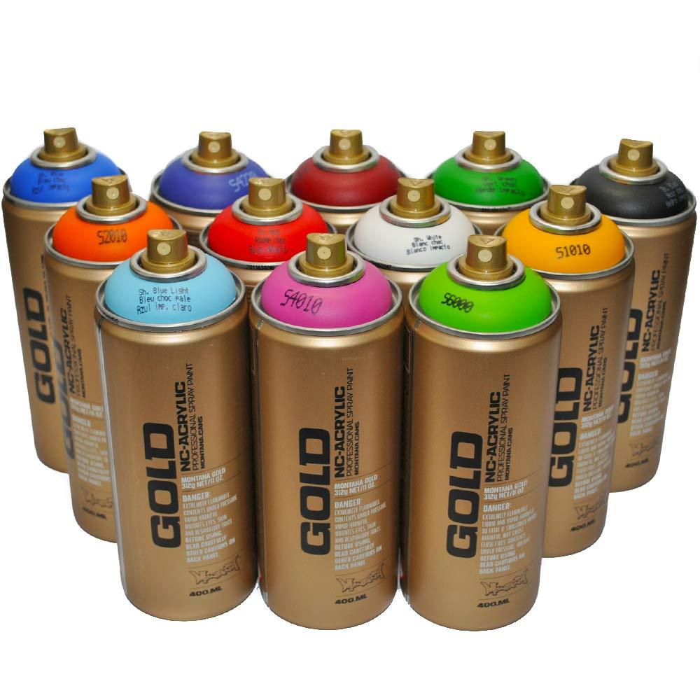 Montana Gold Premium Spray Paint 400ml Main Colors Set of 12 by Montana Gold
