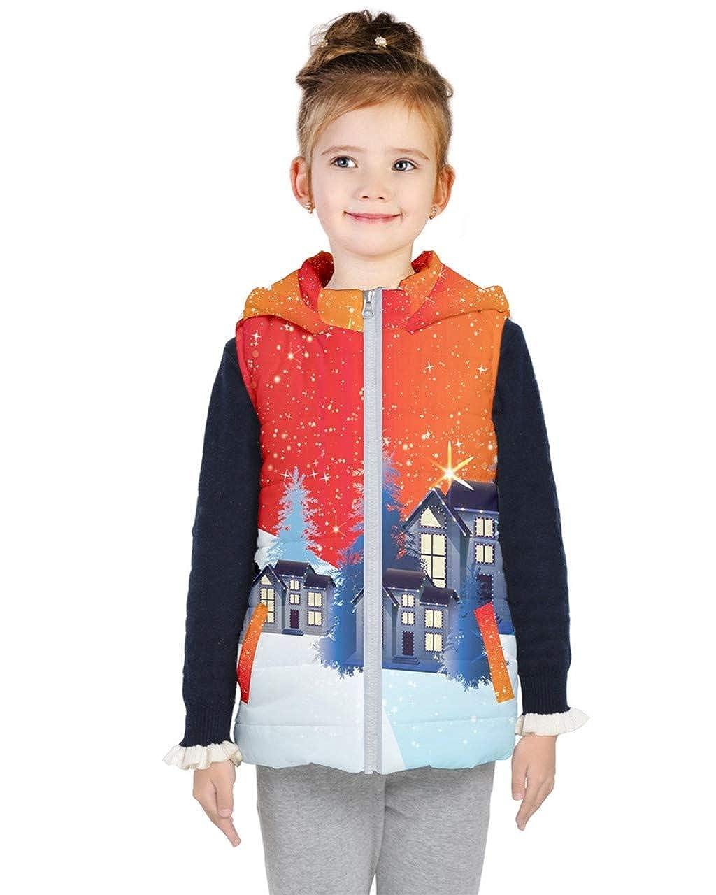 PattyCandy Kids Cute Christmas Jacket Stars /& Galaxy Hooded Puffer Vest Sizes 2-16 PattyCandy-135833320