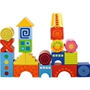 HABA Mod Blocks - 21 Colorful Wooden Building Blocks with Varying Shapes & Unique Designs - 18 Months +