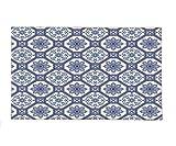 Interestlee Fleece Throw Blanket Arabian Decor Collection Arabesque Floral Elegant Oriental Persian Medieval Baroque Tile Pattern Tribal Art Print Blue White