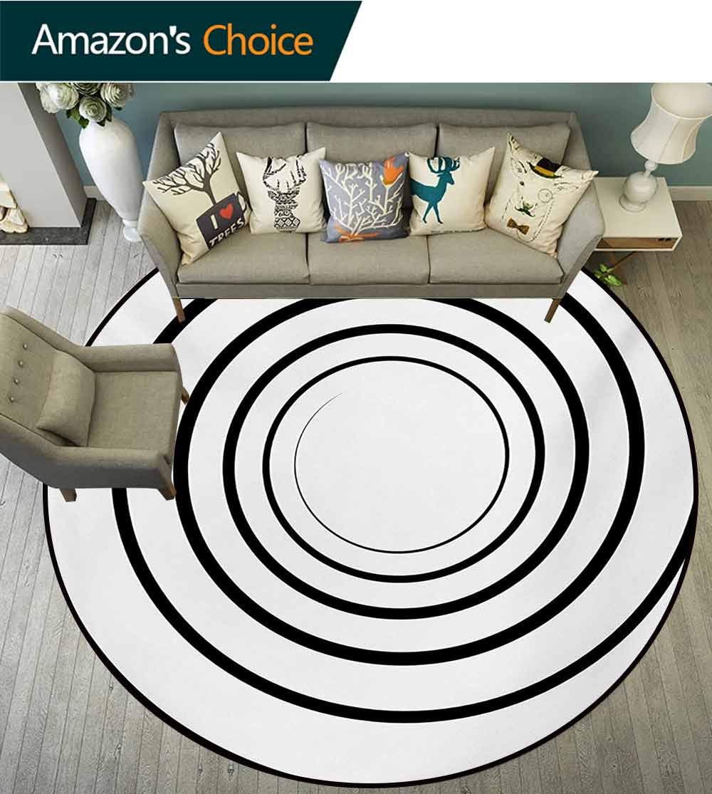 RUGSMAT Spires Computer Chair Floor Mat,Abstract Design Monochrome Spiral Whorl Element Dimensional Aesthetic Curve Concept Printed Round Carpet for Children Bedroom Play Tent,Round-63 Inch