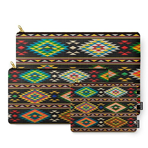 Society6 American Indian Seamless Pattern Carry-All Pouch Set of 3 (Native Indian Makeup)