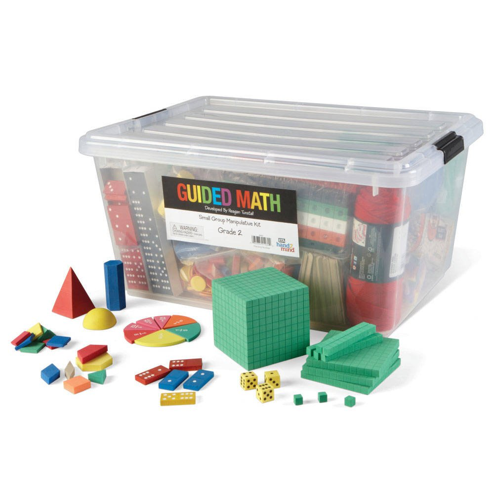 hand2mind Guided Math Small Group Manipulative Kit for Kids (Grade 2+) - Dominoes, Fraction, Base Ten, and More | Hands-On Learning Materials to Complete Group Lessons