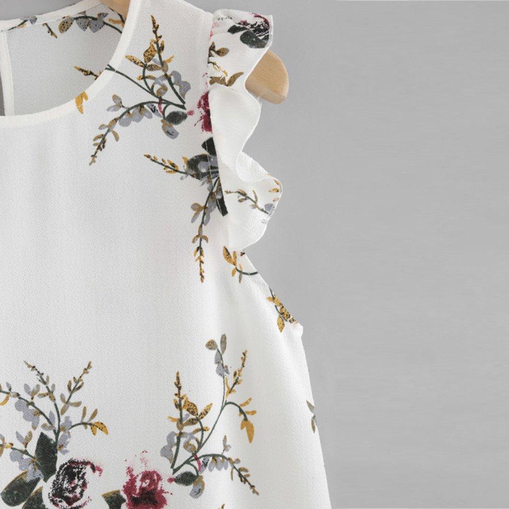 Topgrowth Maglietta da Donna Stampa Floreale Manicotto a Farfalla Estate Canotta in Chiffon Camicia Senza Maniche per Ragazza