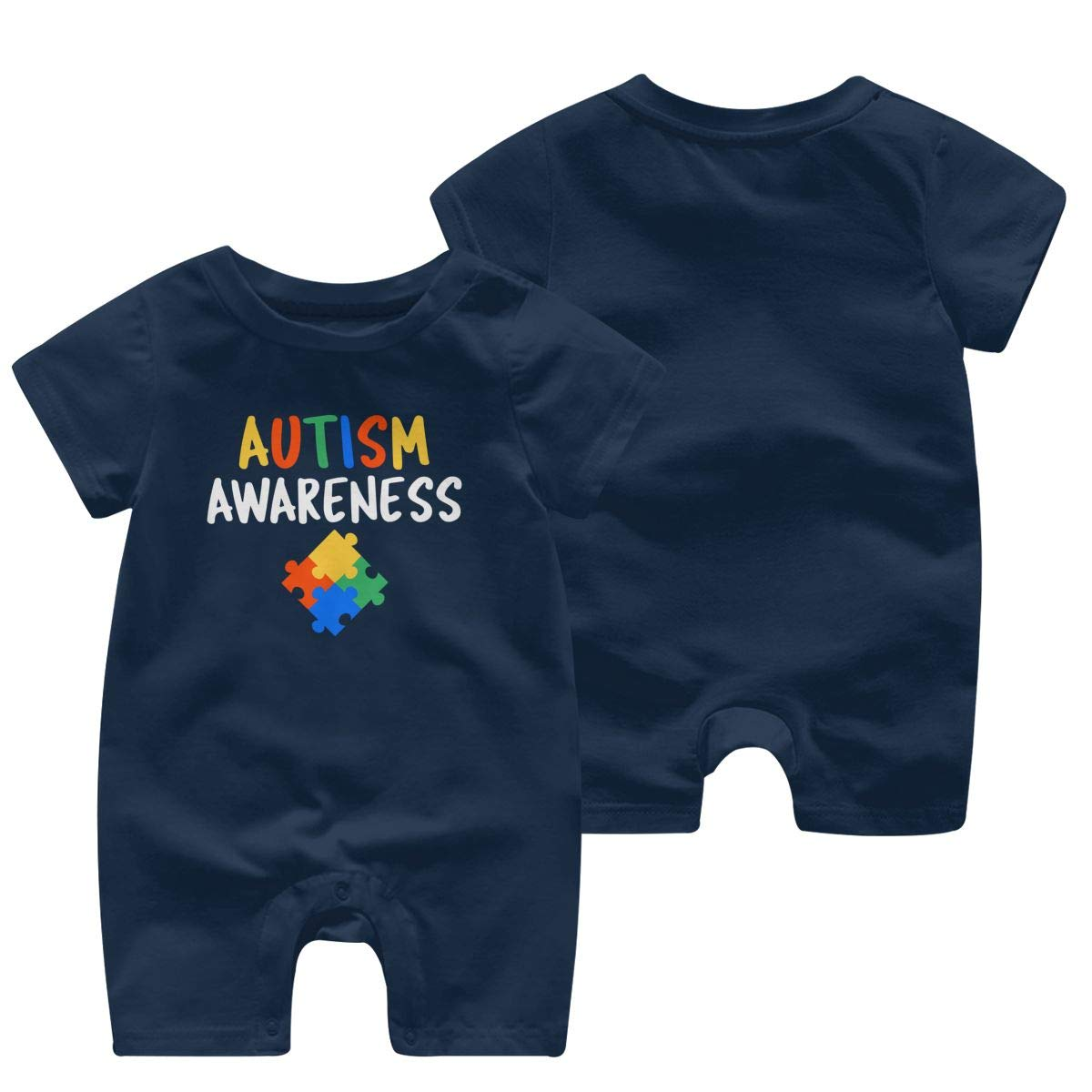 A1BY-5US Baby Infant Toddler Bodysuits Autism Awareness Cotton Short Sleeve Jumpsuit