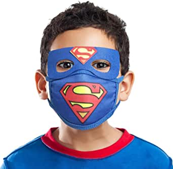 Kids Cloth Mask for Boy Child Play Superhero Blue Cotton Washable Reuseable with Pocket 10 Filter Replacements