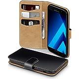 Galaxy A5 2017 Case, Terrapin Handy Leder Brieftasche Case Hülle mit Kartenfächer für Samsung Galaxy A5 2017 Hülle Schwarz mit Hellbraun Interior