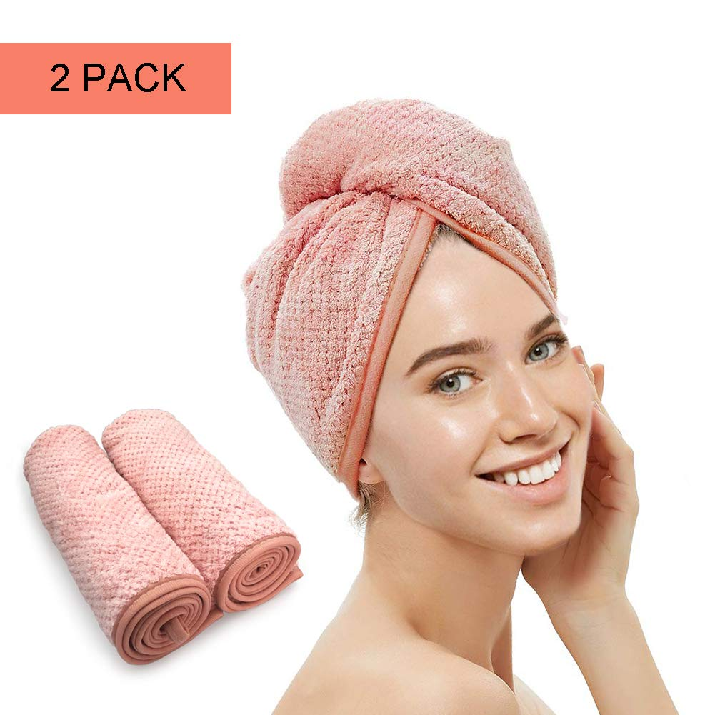 Syfinee 2 Pcs Hair Dry Towel Microfiber Wrapped Bath Cap Quick Drying Shower Towel with Button Hair Towel Wrap Drying Bath Shower Head Towel Quick Magic Dryer Dry Hair Hat Wrapped Bath Cap