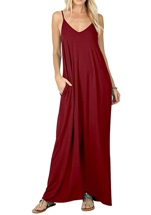 Womens Plain Summer Casual Loose Flowy Swing Beach Long Maxi Sundresses Wine XL best maxi dresses
