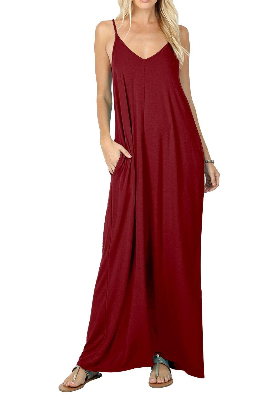 CALIPESSA Womens Casual Sleeveless Pockets Swing Plain Tank Strap Dresses Wine M