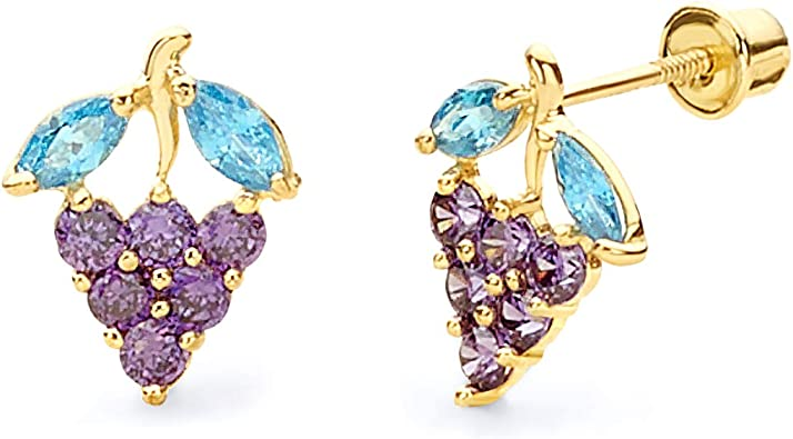 Wellingsale 14K Yellow Gold Polished Grape Drop Stud Earrings With Screw Back