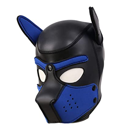 Raycity Leather Full Face Mask Dog Puppy Hood Removable Mouth Costume Party Cosplay Unisex Black Blue