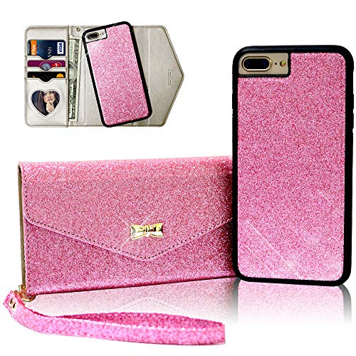 Jasilon Wallet Case for iPhone 6/6s/7/8 Plus 5.5inch [Magnetic Detachable] Handmade [2 in 1] Flip Case with [Wrist Strap and Mirror], iPhone 6/6s/7/8 Plus (5.5'') Case Handbag for Women and Girl(Pink) ()