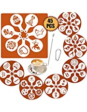 SOSMAR 45 Patterns Coffee Stencils Latte Art Cappuccino Templates Letters/Dogs/Cats/Love/Christmas Coffee Stencils for Decorating Foamy Drinks, Hot Chocolate, Cupcakes, Cookies