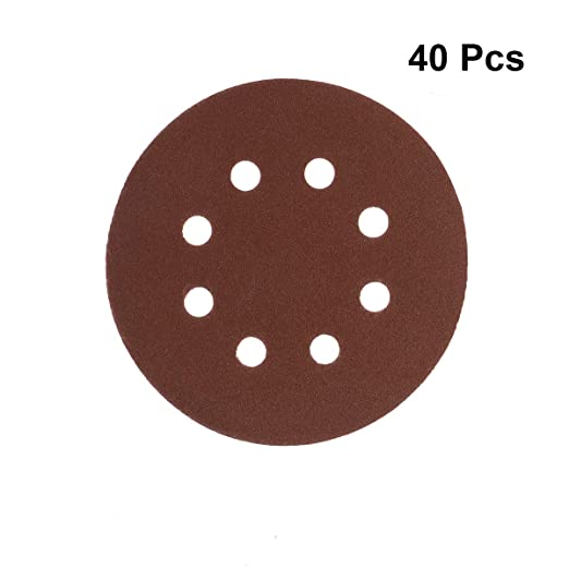 UEETEK 40pcs 8 agujero de 5 pulgadas discos de lija redondo 60 80 120 210 arena para Bosch PEX 220//300 lijadora Orbital 125mm
