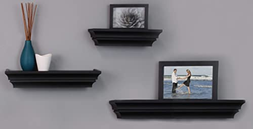 kieragrace Traditional floating-shelves, Set of 3, Black
