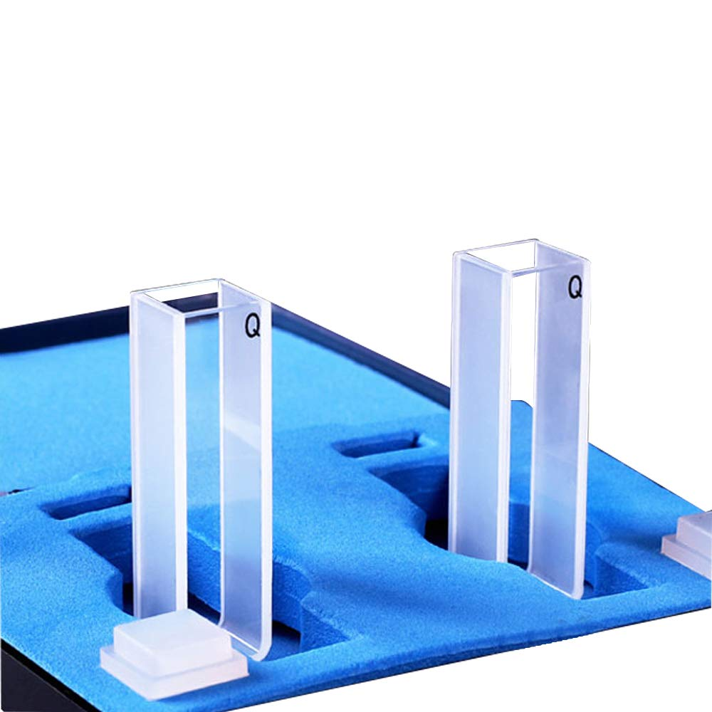 KUNHEWUHUA 10MM 3.5 Ml Quartz Micro Spectrometer Cuvette 2PCS Two-way Light with Lid Spectral range: 200-2500nm