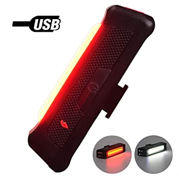 Bicycle Bike Taillight Led Cob Rear Light Rechargeable USB Cycling Safety Road