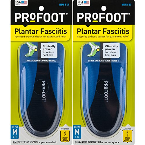 ProFoot Orthotic Insoles for Plantar Fasciitis & Heel Pain, Men's 8-13, 2 Pair