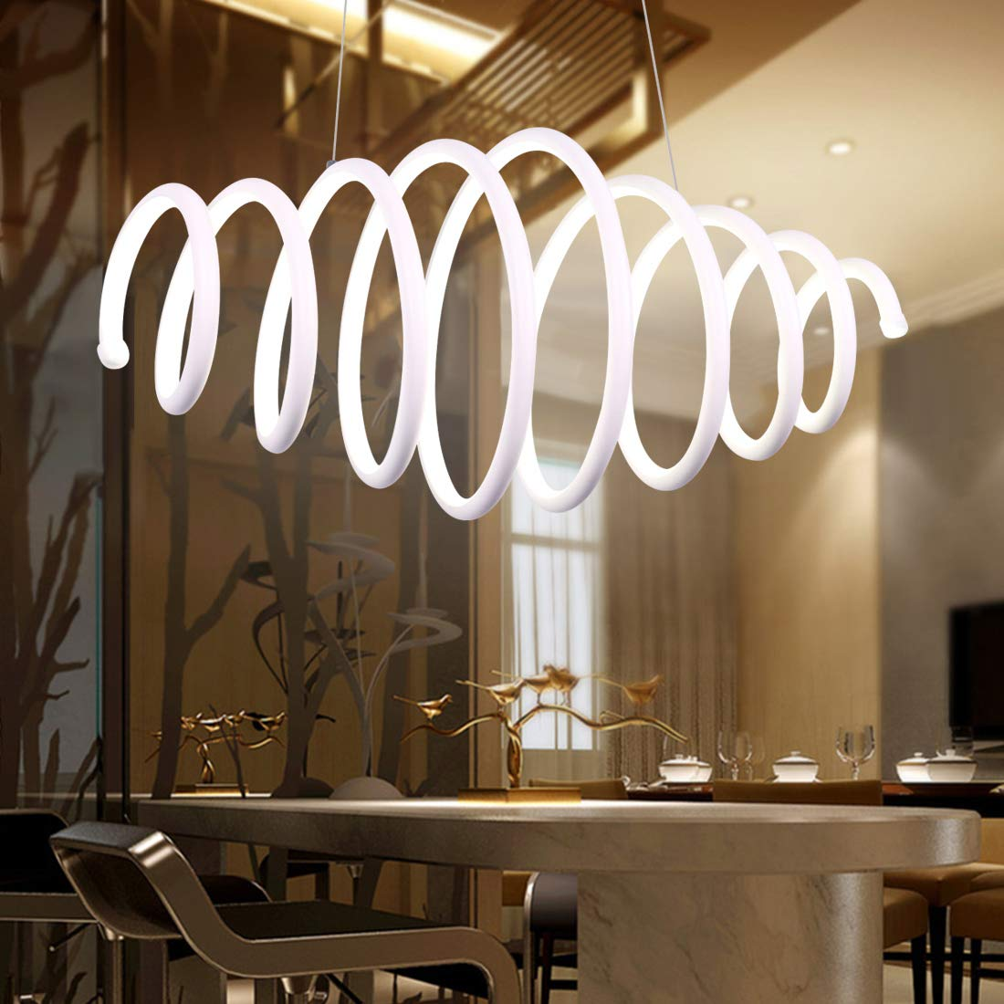 Modern Chandelier, Retractable Spiral Pendant Light, Stylish Hanging Ceiling Fixture with Adjustable Height for Hallway, Kitchen, Dining Room, Living Room, 45W Cool White