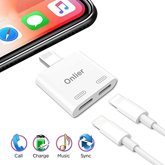 Onlier Compatible Headphone Splitter Replacement for IP 7 Dual Audio Charge  Splitter, IP 8 AUX Cable Charger Jack Applicable for Calling & Remote &