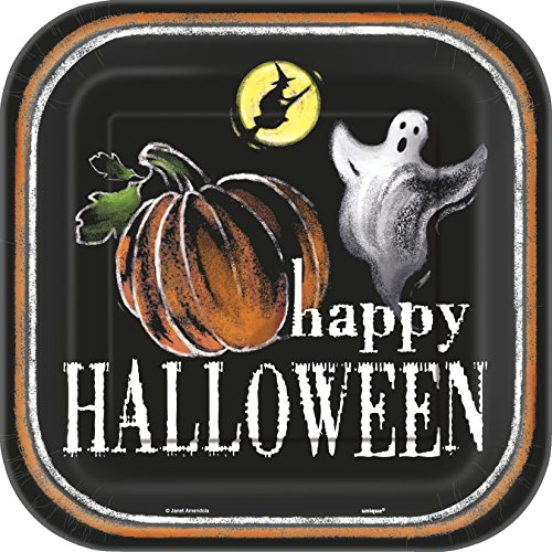 Square Ghostly Halloween Dinner Plates, (Halloween Kid Dinner Ideas)