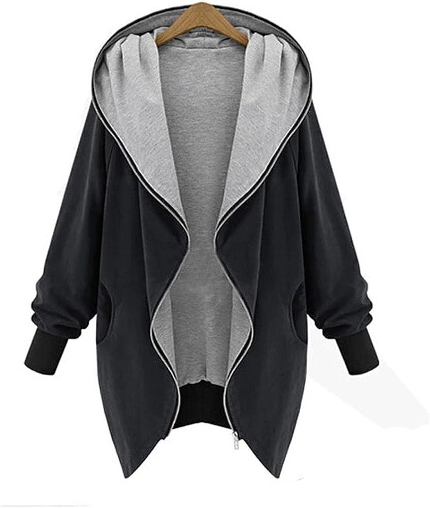 NOMUSING Sweatshirts for Women Zip Up Hoodie Kapuzen Jacket Parka Trench Coat Windbreaker Pullover Tunic Outerwear