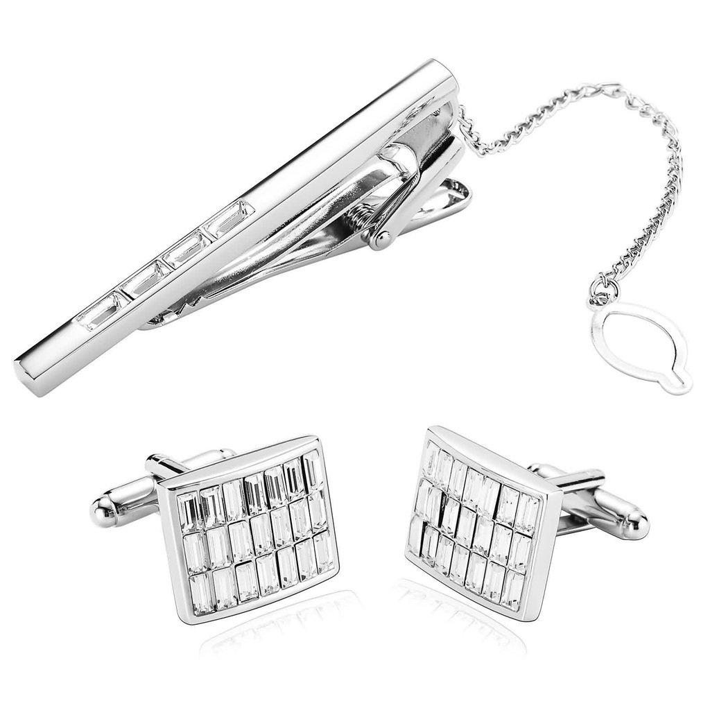 KnSam Men Stainless Steel Tie Clip Cufflinks Set Silver Rectangle Check Crystal Tie Bar Shirt Stud