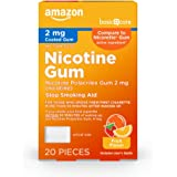 Amazon Basic Care Nicotine Polacrilex Coated Gum 2 mg (nicotine), Fruit Flavor, Stop Smoking Aid; quit smoking with…