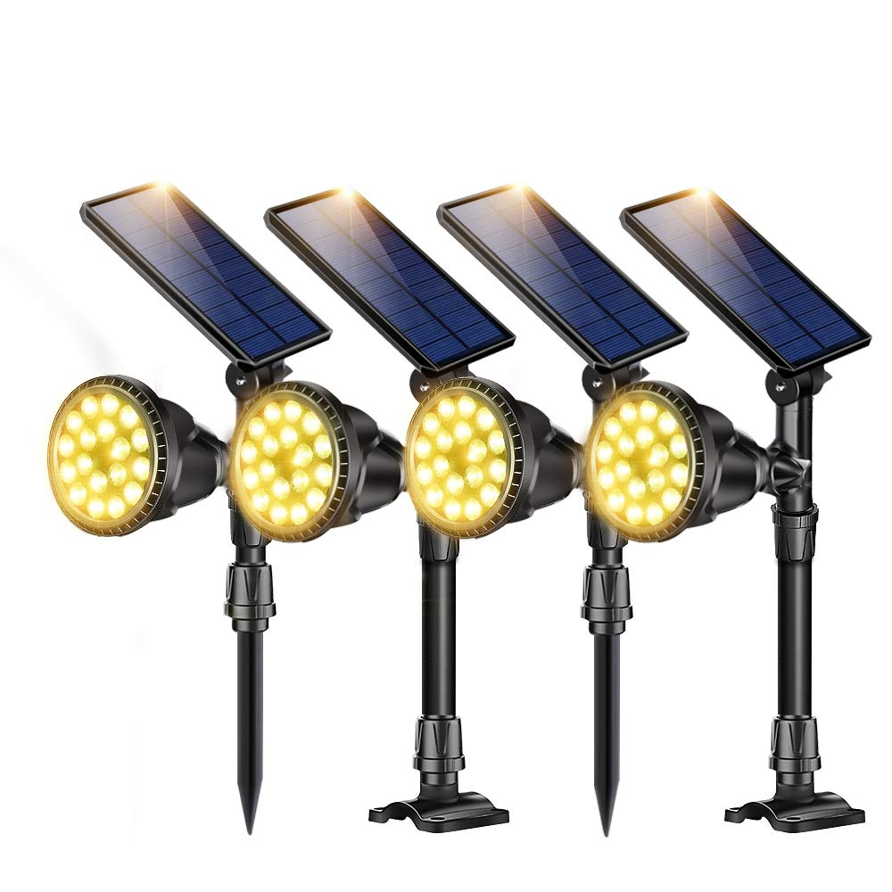 ROSHWEY Outdoor Solar Spot Lights, Super Bright 18 LED Security Lamps Waterproof Spotlight for Garden Landscape Patio Porch Wall Deck Garage (Warm White Light,4Pack)