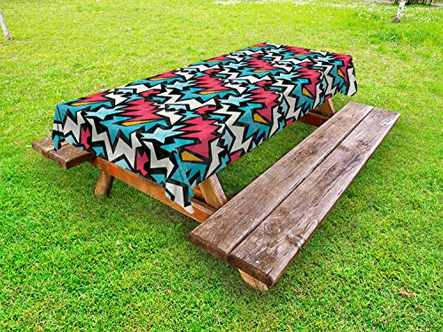 - Ambesonne Urban Graffiti Outdoor Tablecloth, Chevron-Like Bold Framed Tangled Stripes and Edgy Zigzags, Decorative Washable Picnic Table Cloth, 58