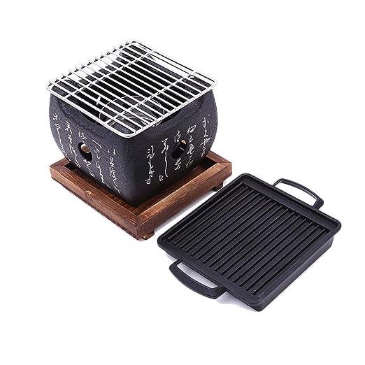 J&A Mini Parrilla de Barbacoa Japonesa, Parrilla de carbón portátil Interior/Exterior portátil con Bandeja de Madera Maciza, Horno de Barro Barbacoa ...