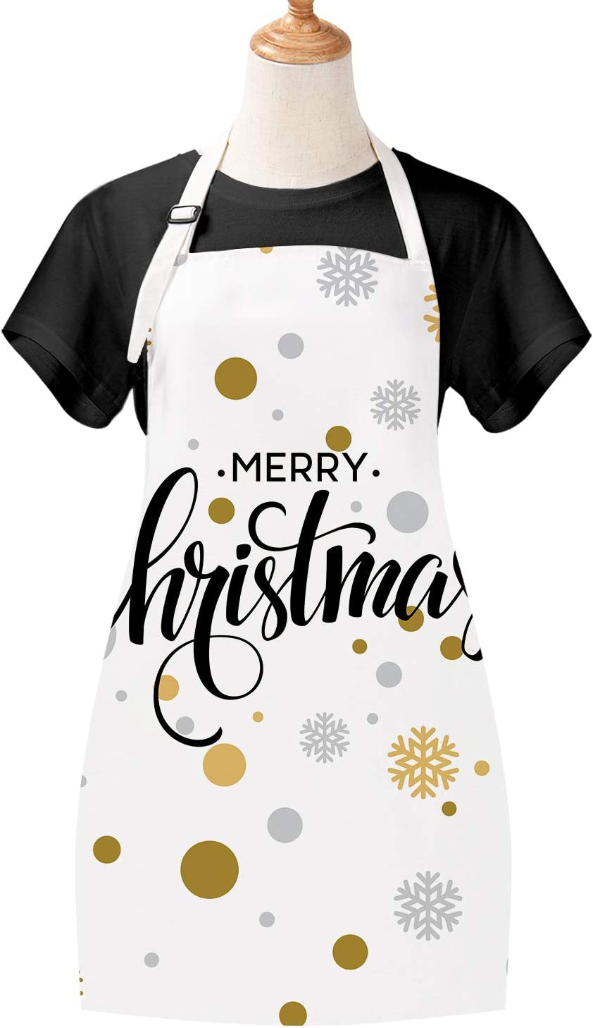 Claswcalor Merry Christmas Apron Snowflake Waterproof Cooking Aprons for Christmas  Party  Celebration Gift  Men Women Kitchen Apron with Adjustable Neck Strap and Long Ties