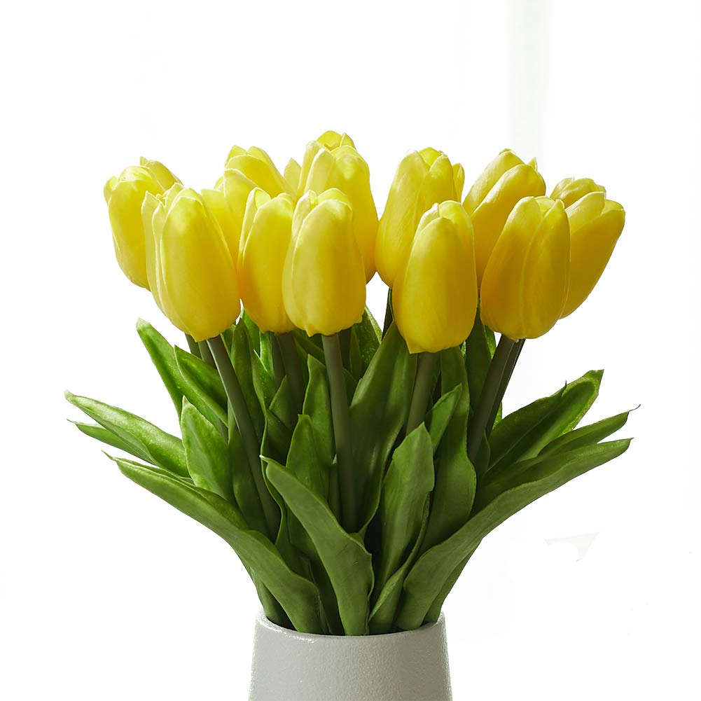 Fanber Artificial Tulip Real Touch Latex Fake Flowers for Wedding Home Party Office Decor(20,Yellow)