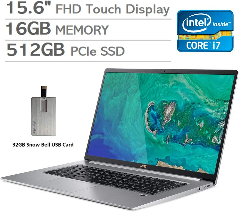 "2020 Acer Swift 5 2-in-1 15.6"" FHD Touchscreen Ultra Thin& Lightweight Laptop Computer, Intel i7-8565U, 16GB RAM, 512GB PCIe SSD, Backlit KB, UHD Graphics, Win 10, Silver, 32GB Snow Bell USB Card"