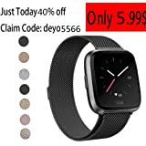 Deyo Compatible Fitbit Versa Bands Women Men,Stainless Steel Milanese Loop Metal Replacement Bracelet Band with Magnetic Closure Accessories Wristbands Compatible Fitbit Versa Smartwatch
