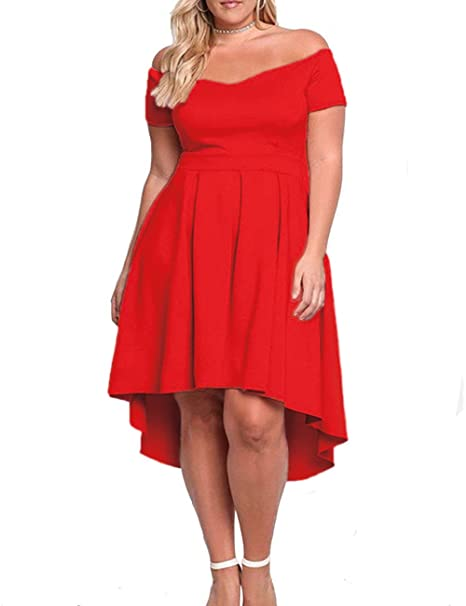 cf23ca259bb XAKALAKA Women s Plus Size Off Shoulder Pleated High Low Maxi Wedding  Cocktail Dress Red XXXL