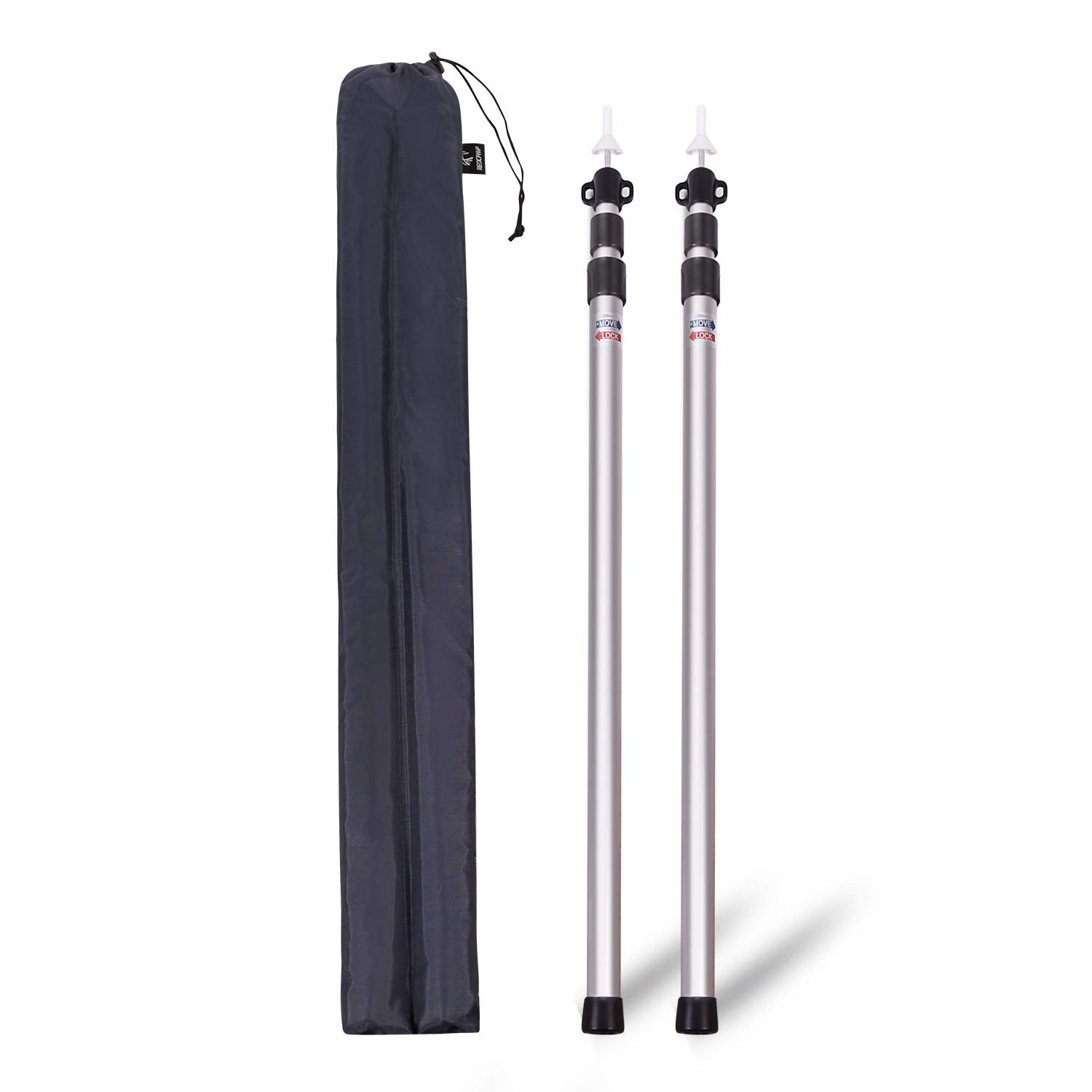 REDCAMP Aluminum Adjustable Camping Tarp Poles, Set of 2, 90'' Telescoping Lightweight Tent Poles for Shelter, Hammock Rain Fly, Awning by REDCAMP