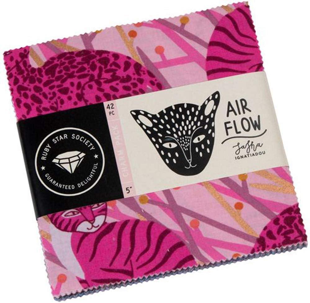 Sasha Ignatiadou Airflow Charm Pack 42 5-inch Squares Ruby Star Society