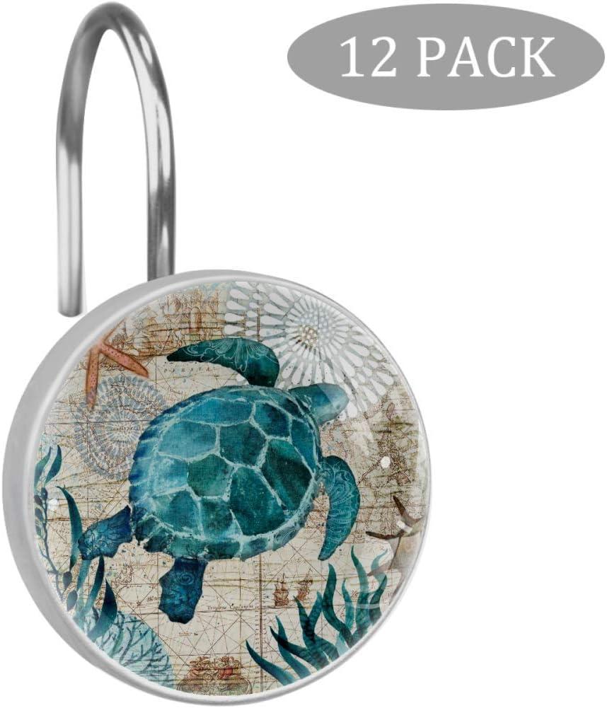 Josid Sea Turtle Ocean Creature Landscape Shower Curtain Hooks Set of 12, Stainless Steel Rust-Resistant Shower Hook Ring Decorative Hanger Rings for Bathroom Kids Room Living Room Bedroom Home Decor