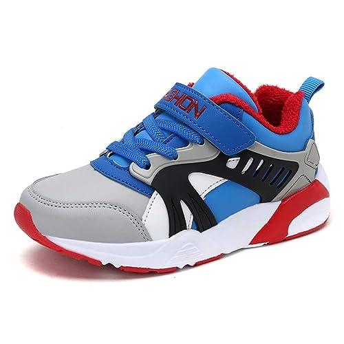 2d81f4fd8c770 Zapatillas Deportivas para niños Zapatillas Deportivas de Cuero para niños  al Aire Libre de Invierno de niño con Zapatillas de Velcro para niños   Amazon.es  ...