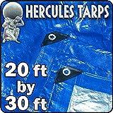 20 x 30' - Hercules Tent Shelter Tarp Cover Waterproof Tarpaulin Plastic Tarp Protection Sheet for Contractors, Campers, Painters, Farmers, Boats, Motorcycles, Hay Bales - Hercules Tarp - Blue/Silver