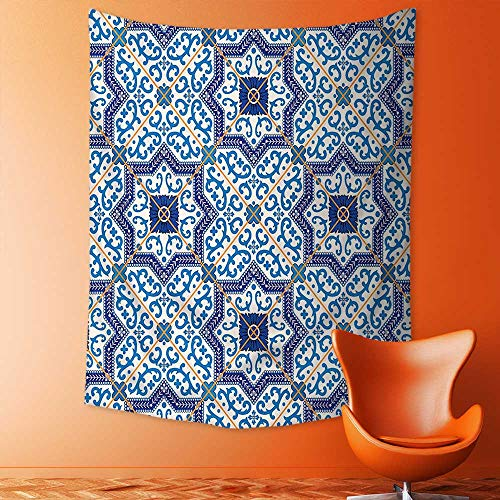 aolankaili Tapestry Mystic House Decor, Moroccan Portuguese Style Classic Tiles Ornaments Islamic Historical Buildings Art Blue Bedroom Living Room Dorm Wall Hanging Tapestry by aolankaili