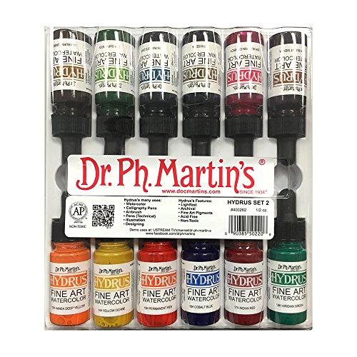 Dr. Ph. Martin's 400262-XXX Hydrus Fine Art Watercolor Bottles, 0.5 oz, Set of 12 (Set (14h Set)