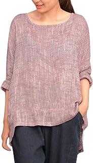 NPRADLA - Camisas - Casual - Liso - Redondo - Manga Larga - para Mujer