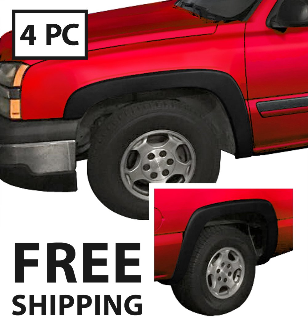 Premium Fender Flares for 1999-2006 Chevy Silverado/GMC Sierra (Incl. 2007 Classic Models)   Fine-Textured Matte Black Paintable Factory Style 4pc