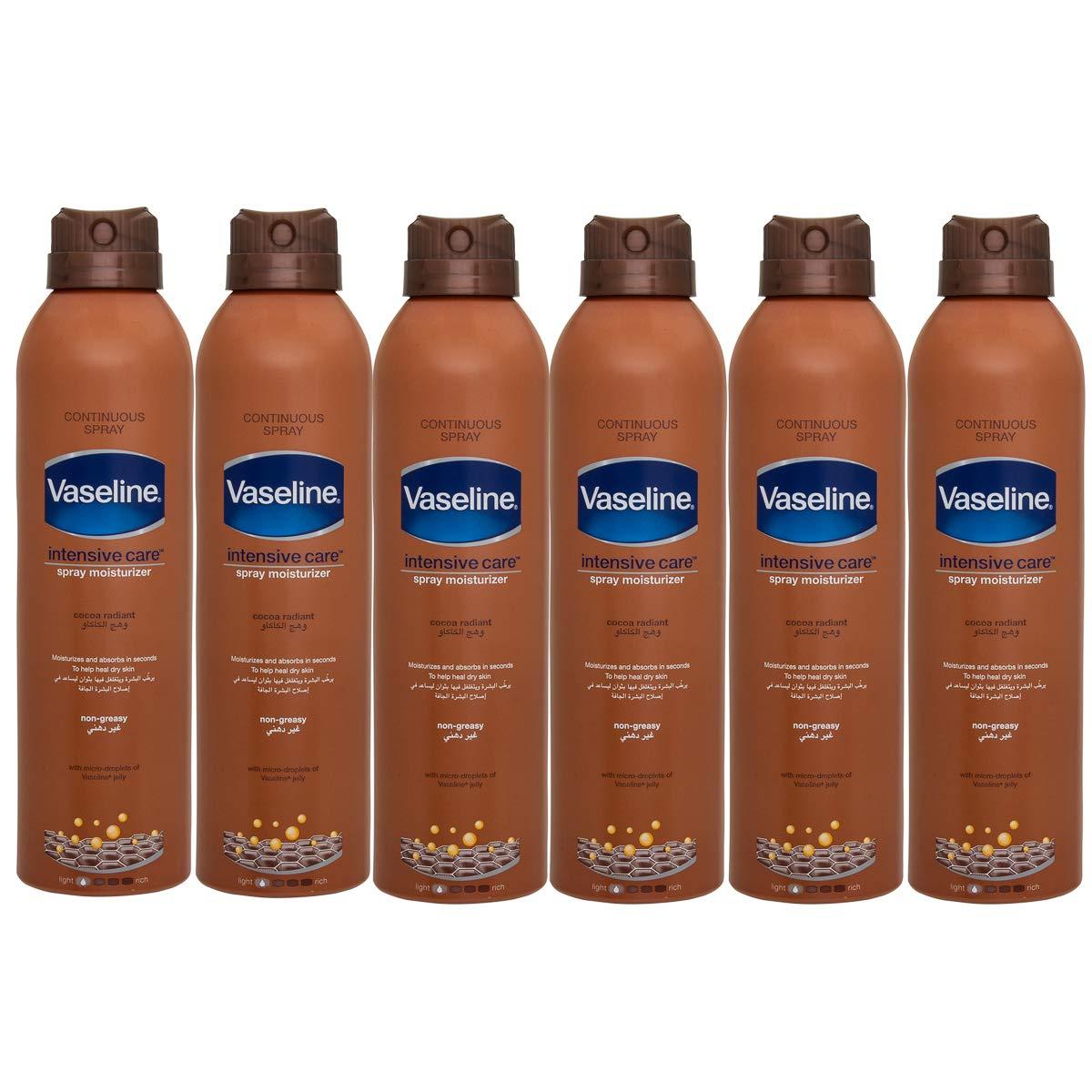 Vaseline (6 Pack) 6.4oz Bottle Body Spray Lotion Moisturizer For Dry Skin Gift Set For Men Women by Vaseline