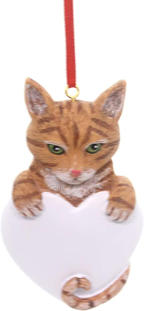 Tabby Cat Orange Hand Personalized Christmas Tree Ornament