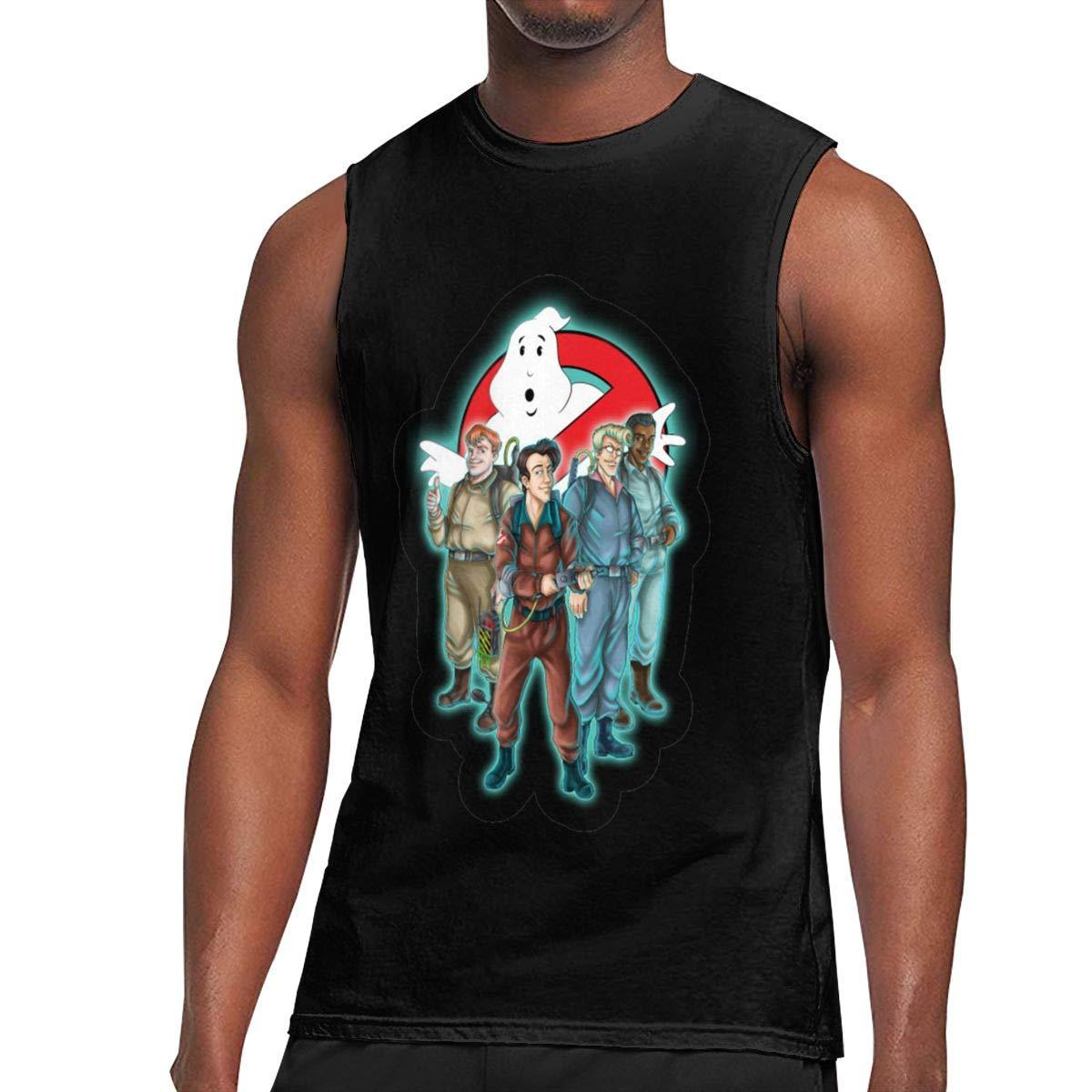Nanakang Geek Ghostbusters Sleeveless Round Neck Summer Sport Tees Cool Black Shirts